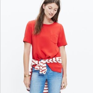 Madewell Red Industry Button Back Tunic Top Med